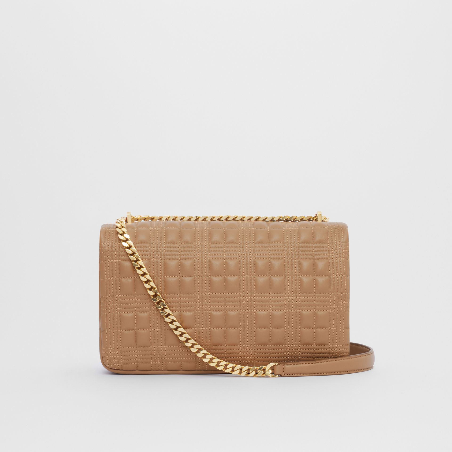 Medium Quilted Check Lambskin Lola Bag in Camel - Women | Burberry - gallery image 7