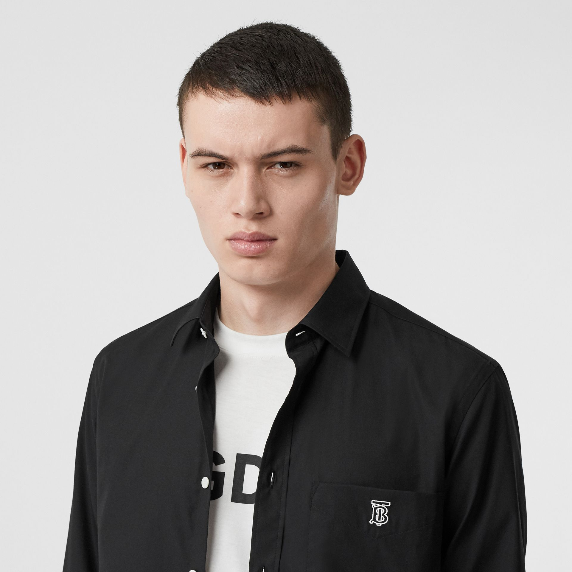 Monogram Motif Stretch Cotton Poplin Shirt in Black - Men | Burberry United States - gallery image 1