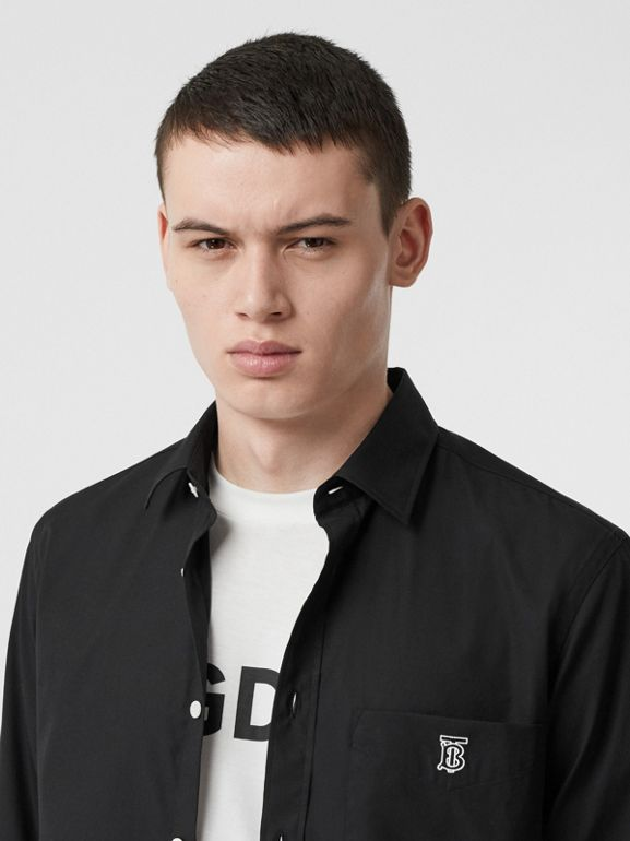 Monogram Motif Stretch Cotton Poplin Shirt in Black - Men | Burberry United Kingdom - cell image 1