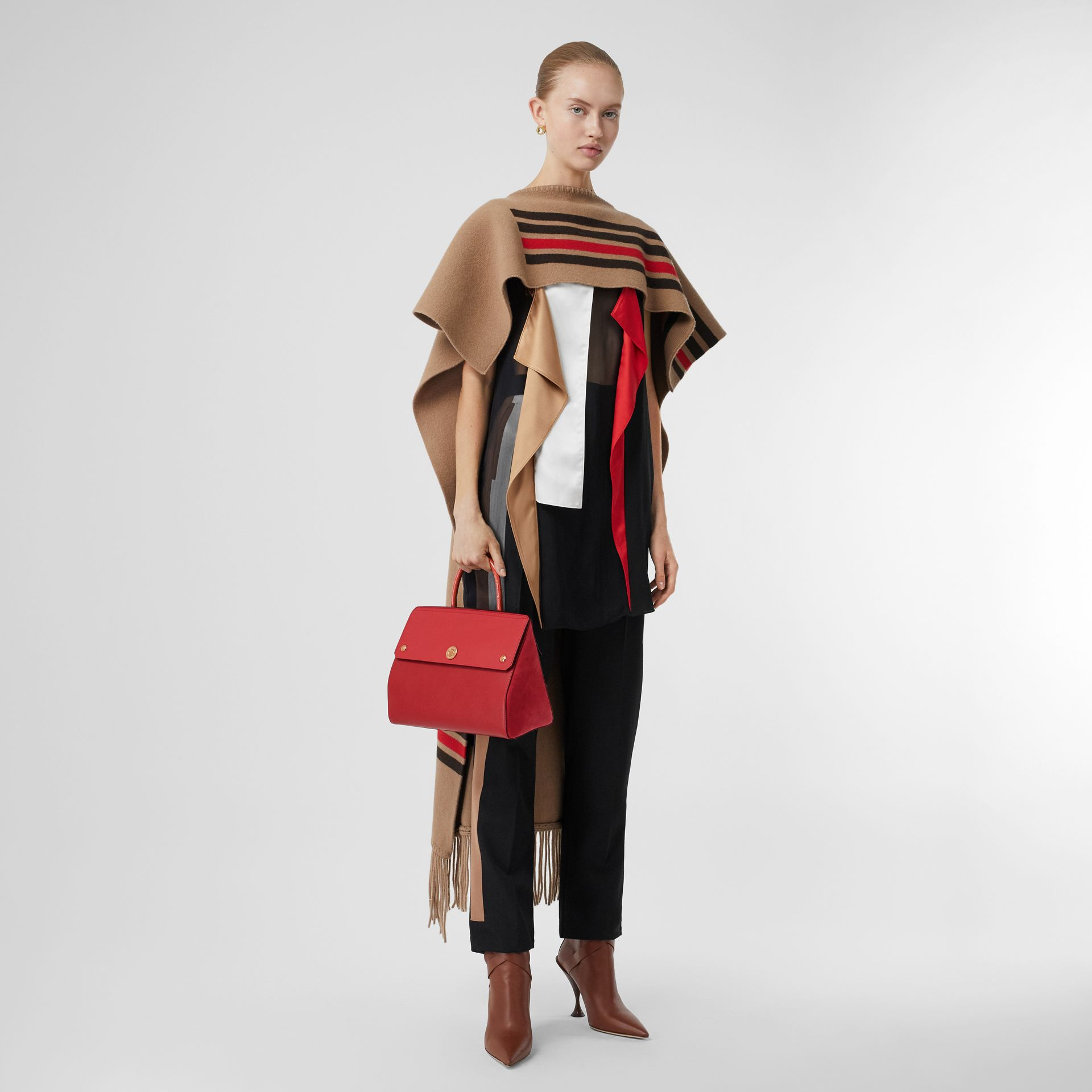 Small Leather and Suede Elizabeth Bag in Bright Military Red - Women | Burberry Canada - gallery image 5
