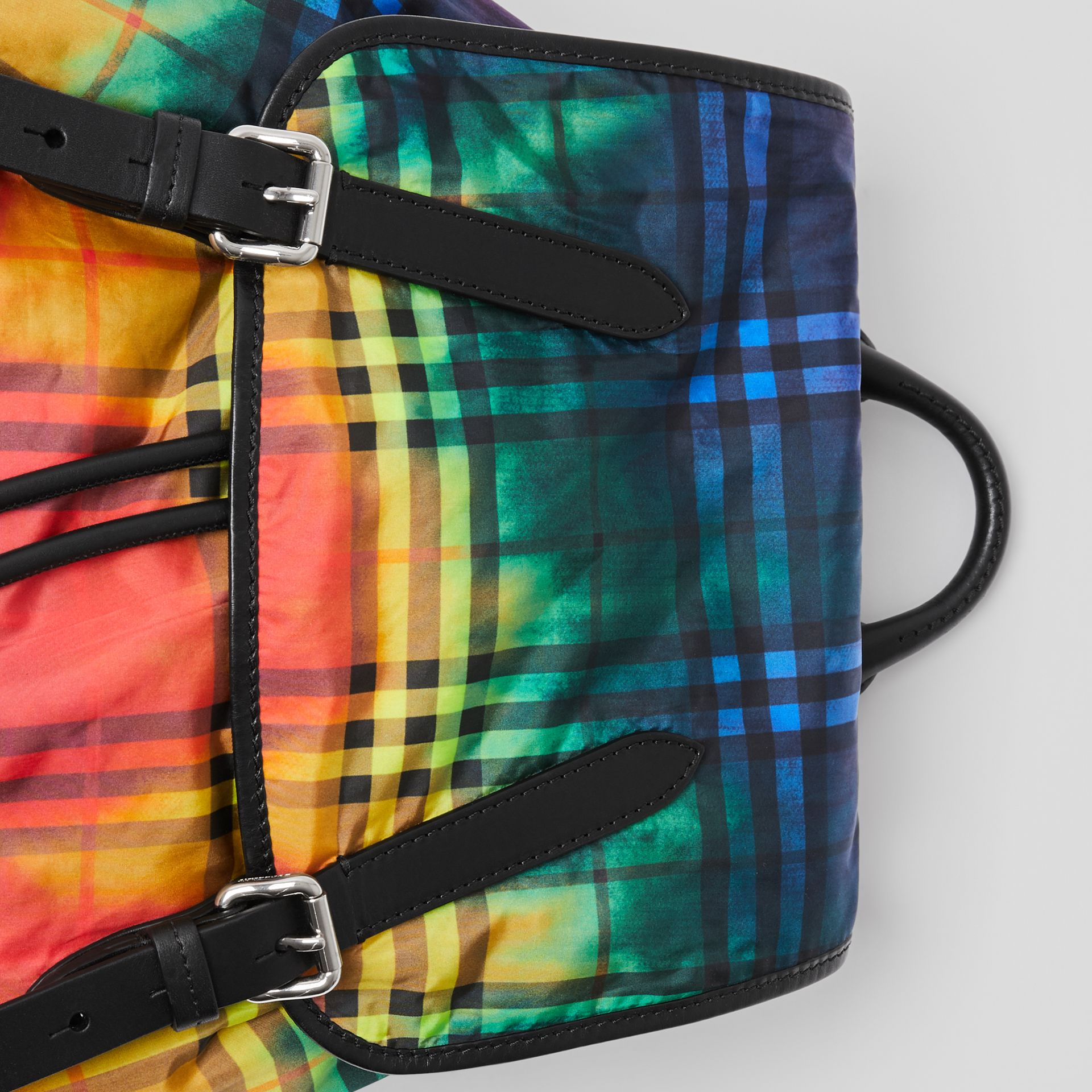 The Large Rucksack in Tie-dye Vintage Check in Multicolour | Burberry Australia - gallery image 1