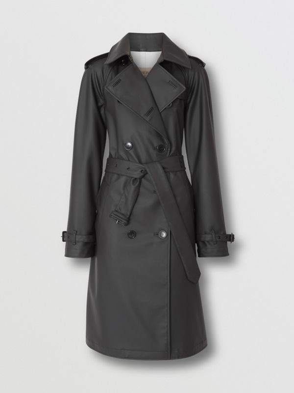 Logo Detail Showerproof Trench Coat in Black/white - Women | Burberry - cell image 3