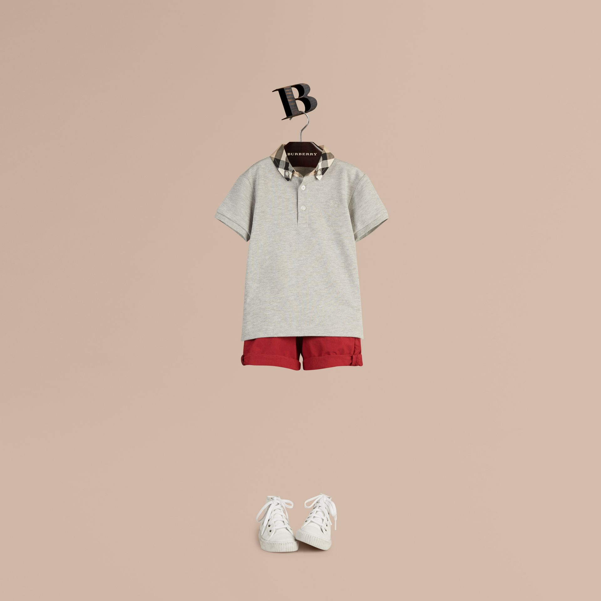 Check Collar Polo Shirt in Pale Grey Melange - Boy | Burberry Hong Kong - gallery image 1