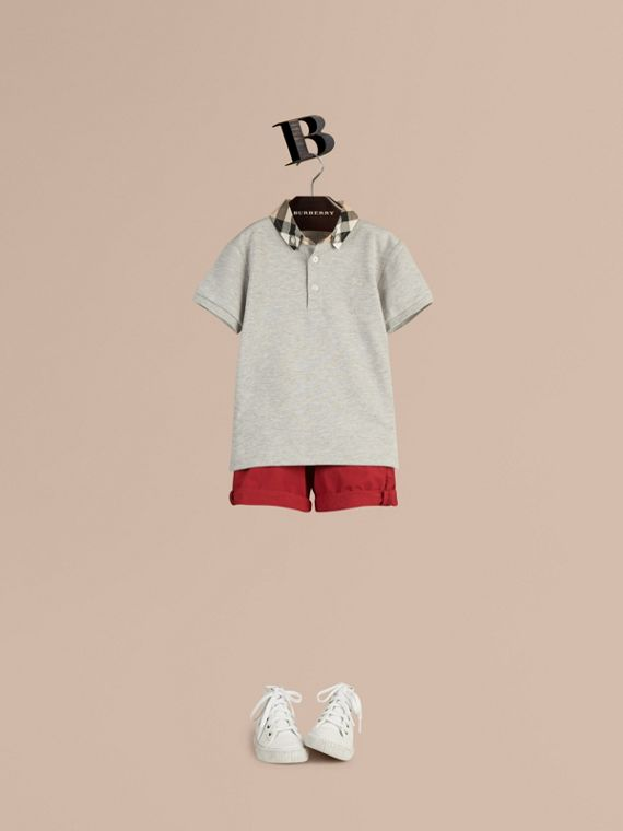 Check Collar Polo Shirt Pale Grey Melange