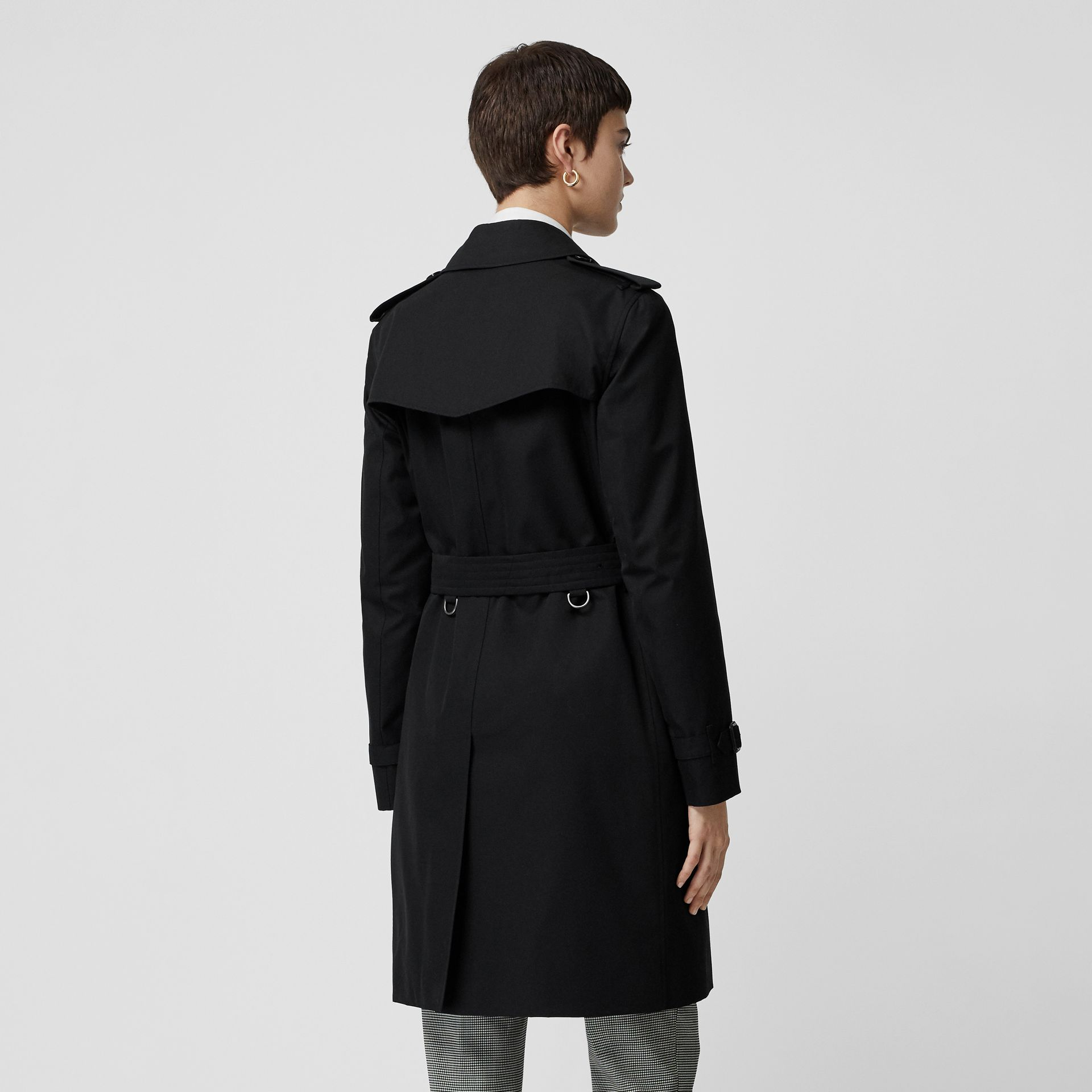 Kensington Fit Cotton Gabardine Trench Coat in Black - Women | Burberry Canada - gallery image 2