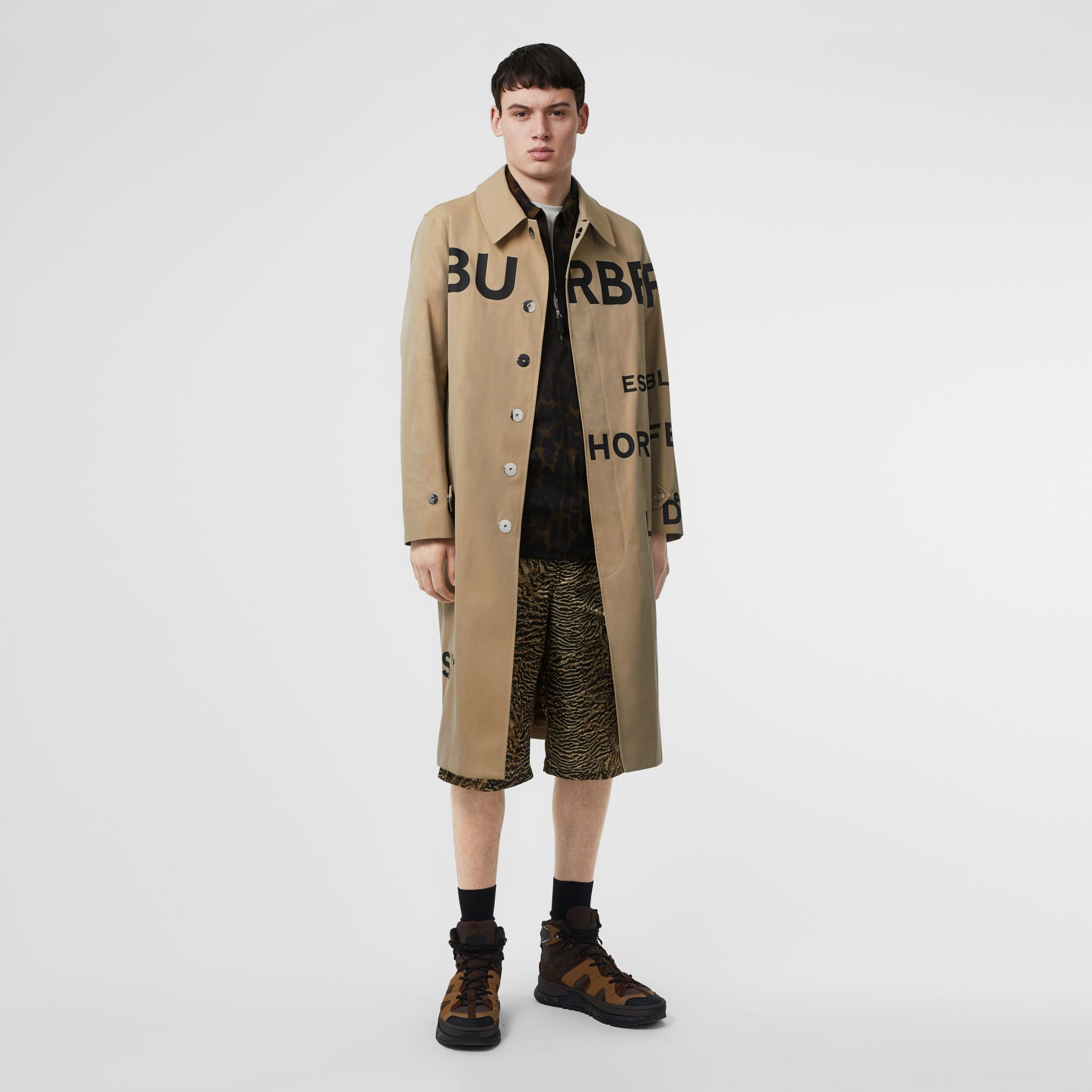 Horseferry Print Cotton Gabardine Car Coat in Honey - Men | Burberry - gallery image 0