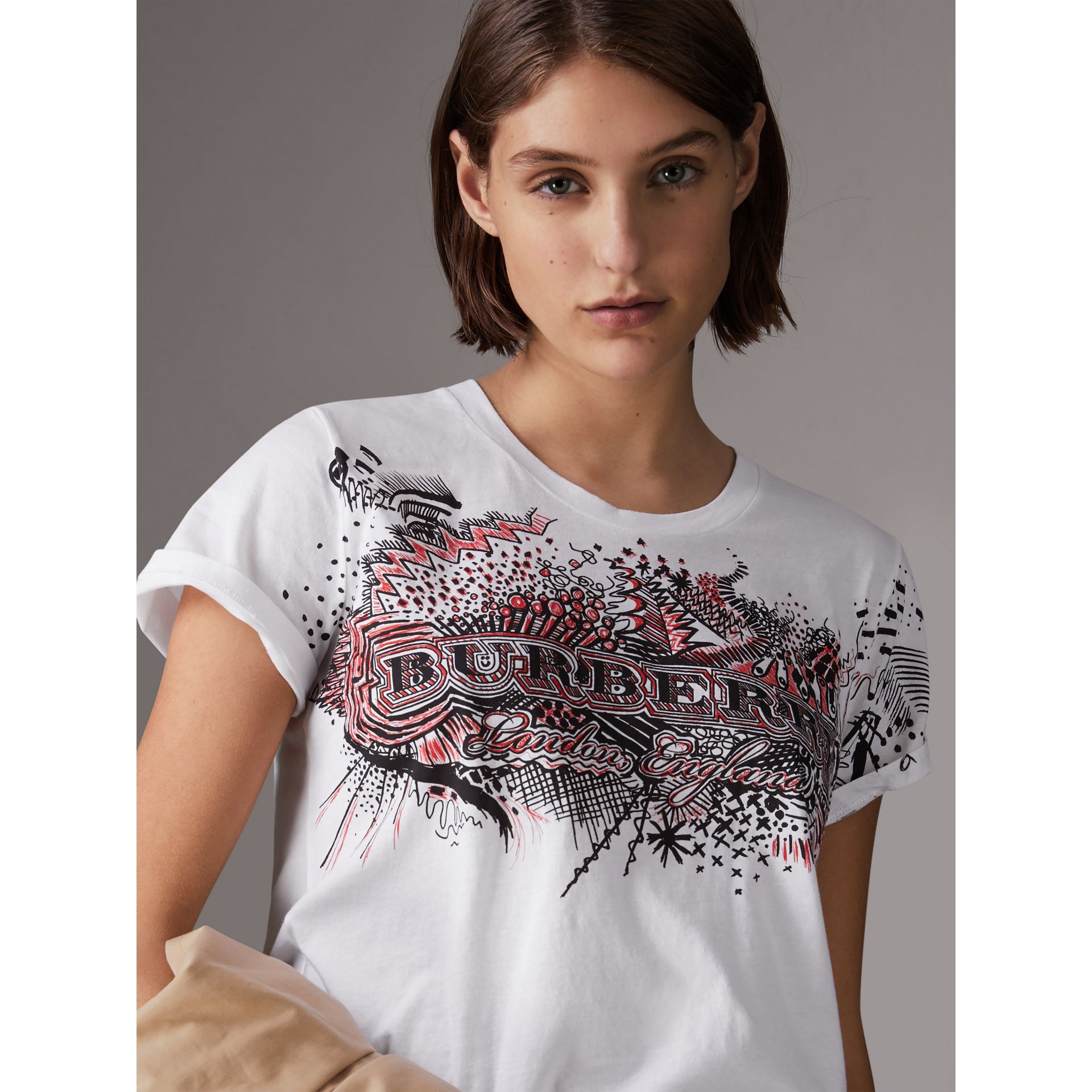 Doodle Print Cotton T-shirt in White - Women | Burberry - gallery image 4