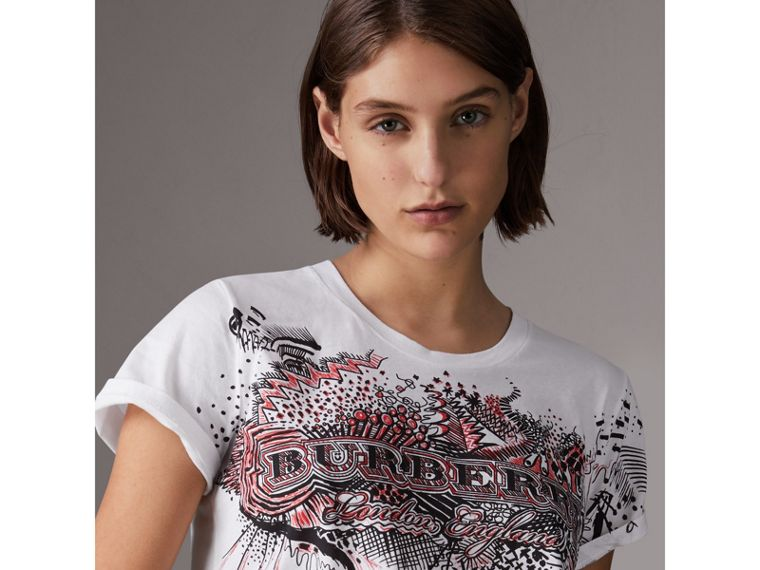 Doodle Print Cotton T-shirt in White - Women | Burberry Hong Kong - cell image 4