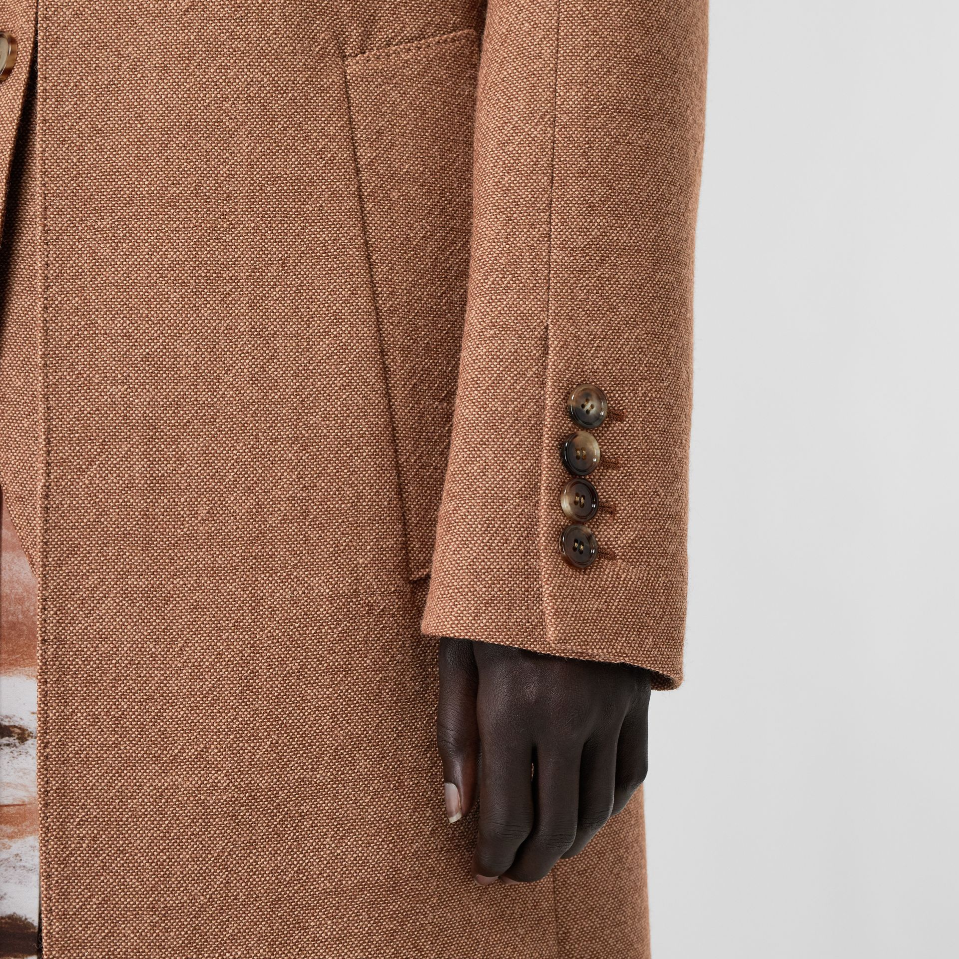 Waistcoat Detail Wool Tailored Coat in Bronze - Women | Burberry - gallery image 4