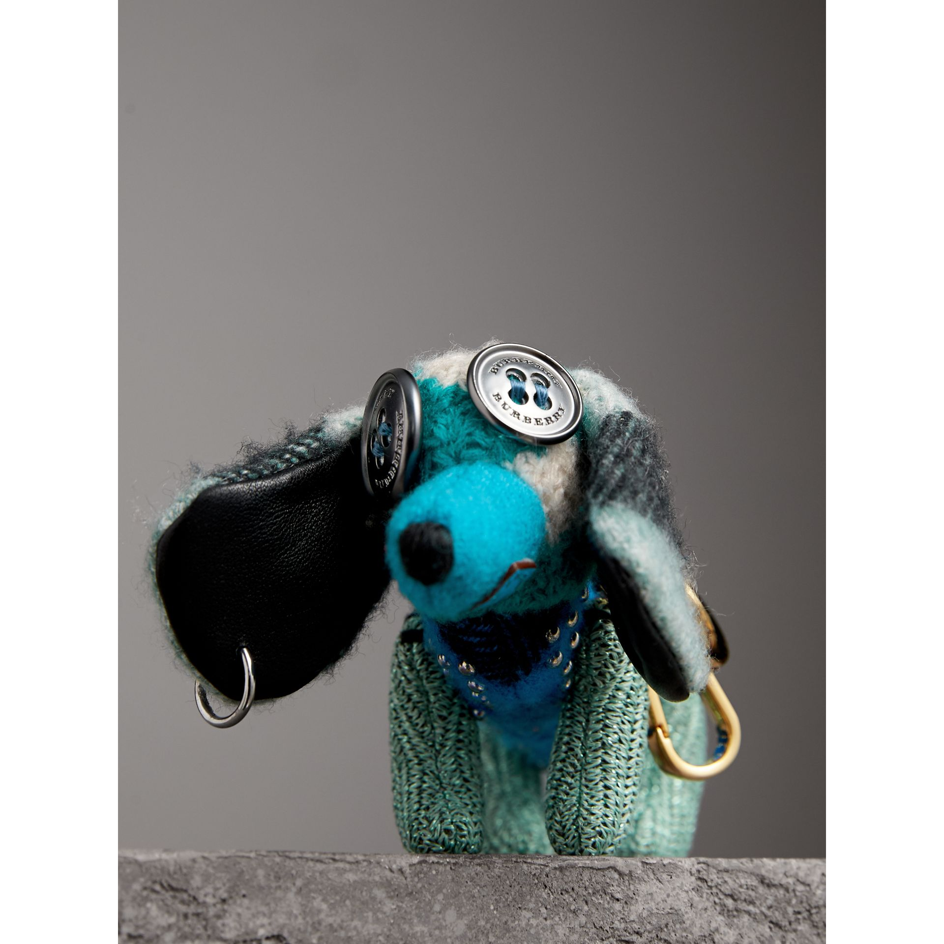 Tilly The Sausage Dog Cashmere Charm in Teal Blue | Burberry - gallery image 1