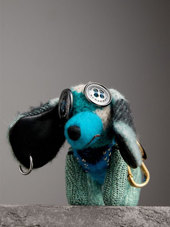 Tilly The Sausage Dog Cashmere Charm in Teal Blue | Burberry - cell image 1