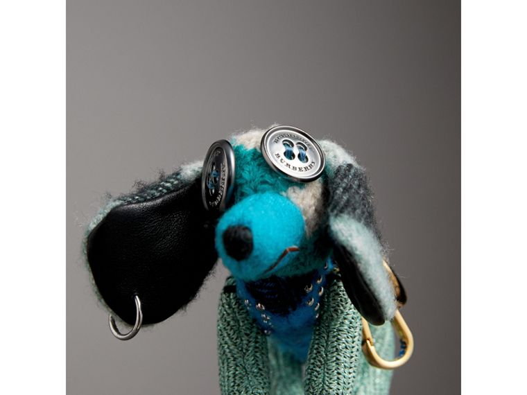 Tilly The Sausage Dog Cashmere Charm in Teal Blue - Women | Burberry - cell image 1