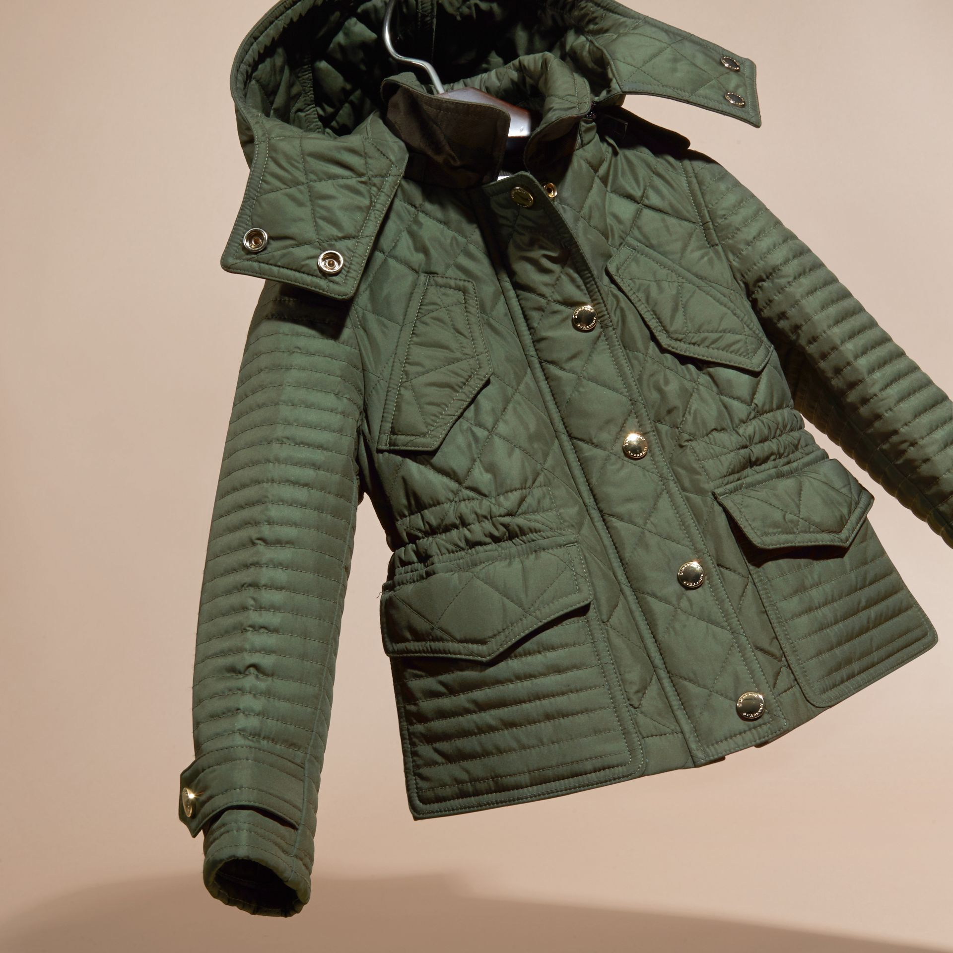 Olive Quilted Jacket with Detachable Hood - gallery image 3
