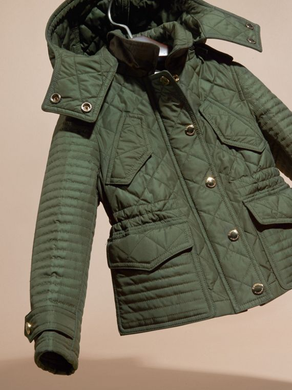 Olive Quilted Jacket with Detachable Hood - cell image 2
