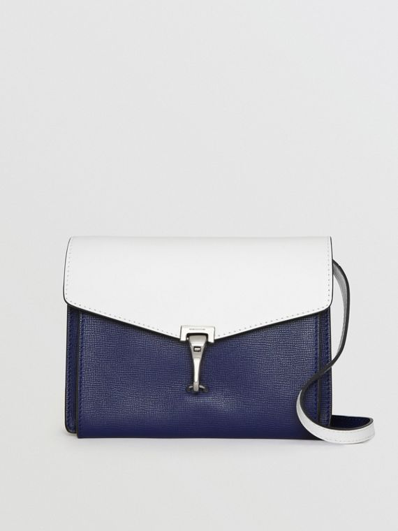 Two-tone Leather Crossbody Bag in Regency Blue/chalk White