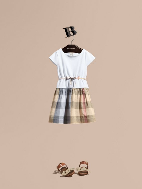 Check Cotton Dress with Cap Sleeves in Pale Stone - Girl | Burberry Canada