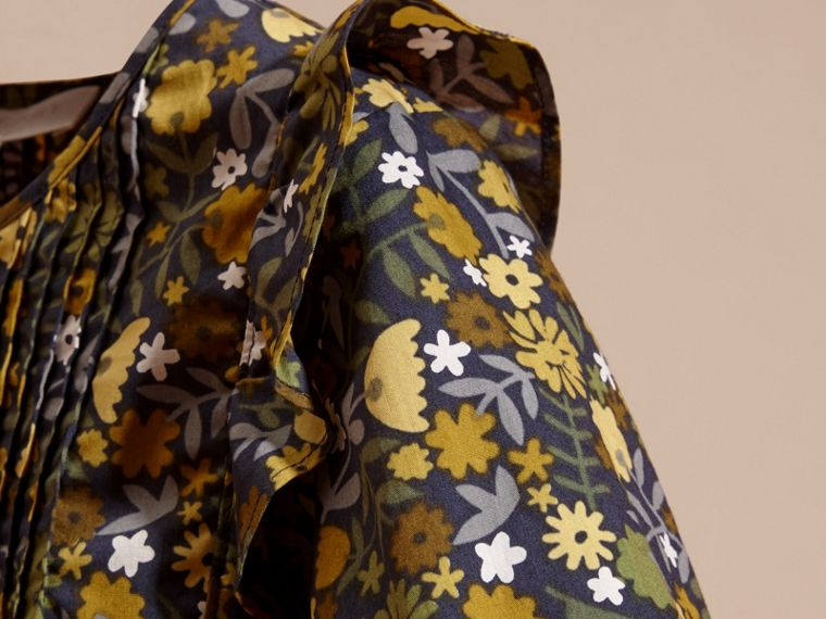 Dusty citrine Floral Print Cotton Shirt with Ruffle Detail Dusty Citrine - cell image 1