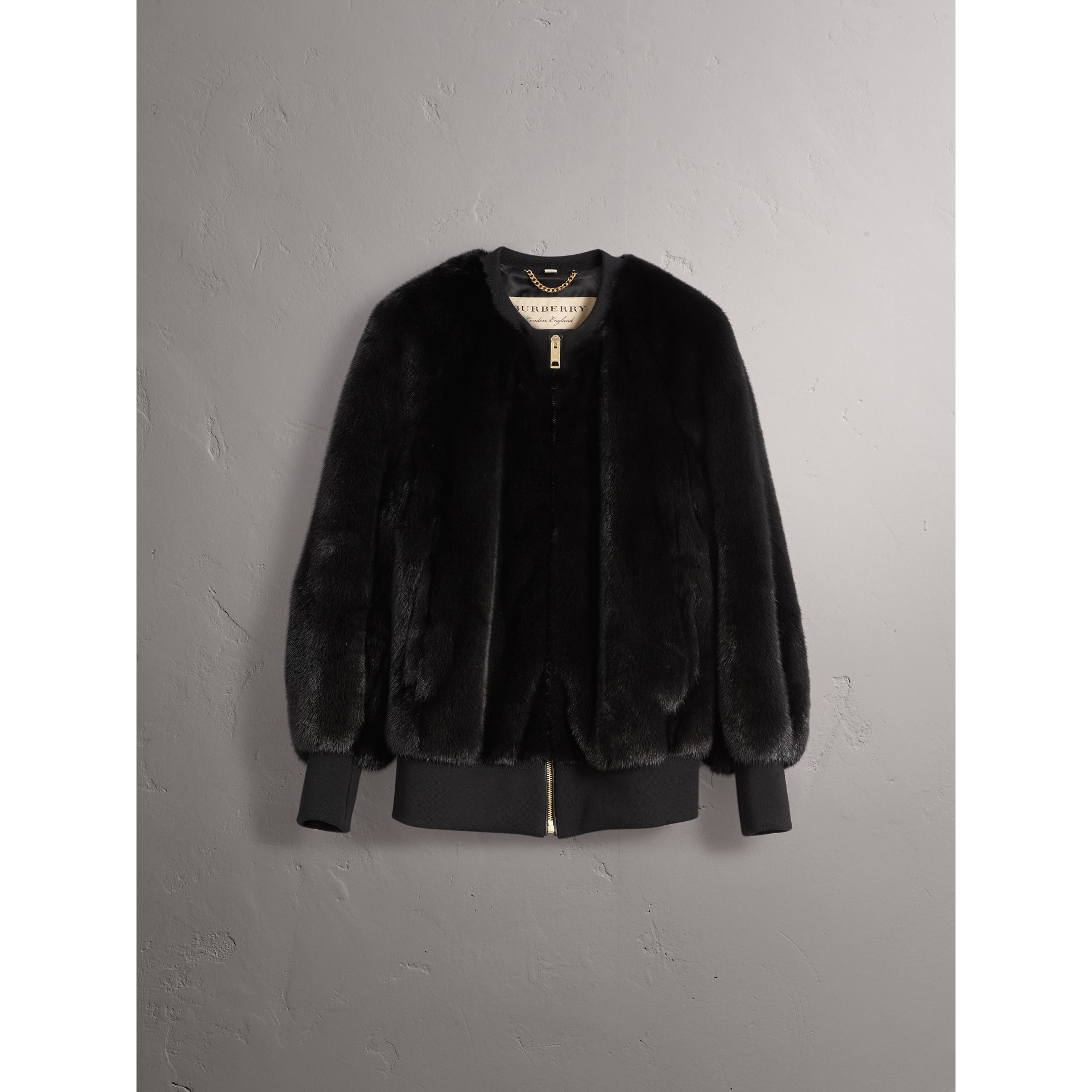 밍크 보머 재킷 (블랙) - 여성 | Burberry - 갤러리 이미지 4
