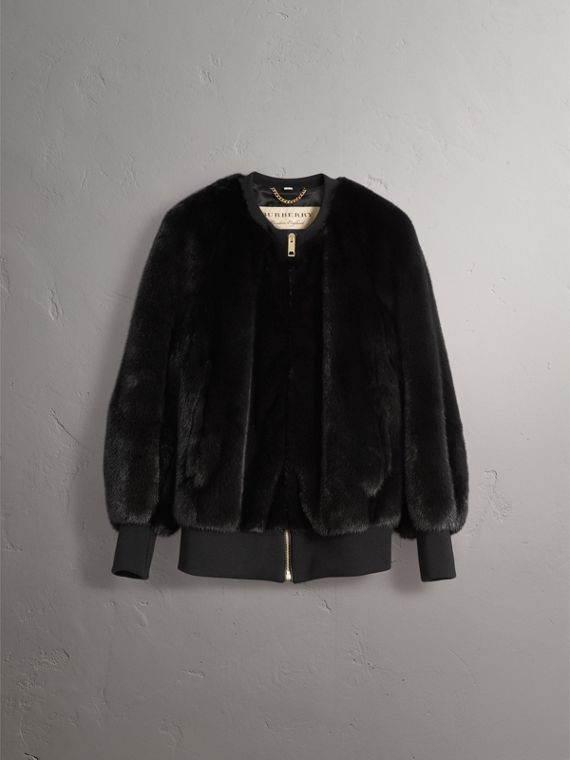Mink Bomber Jacket in Black - Women | Burberry - cell image 3