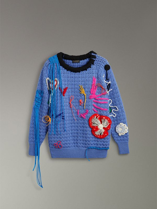 Embellished Wool Lace Sweater in Blue - Women | Burberry - cell image 3