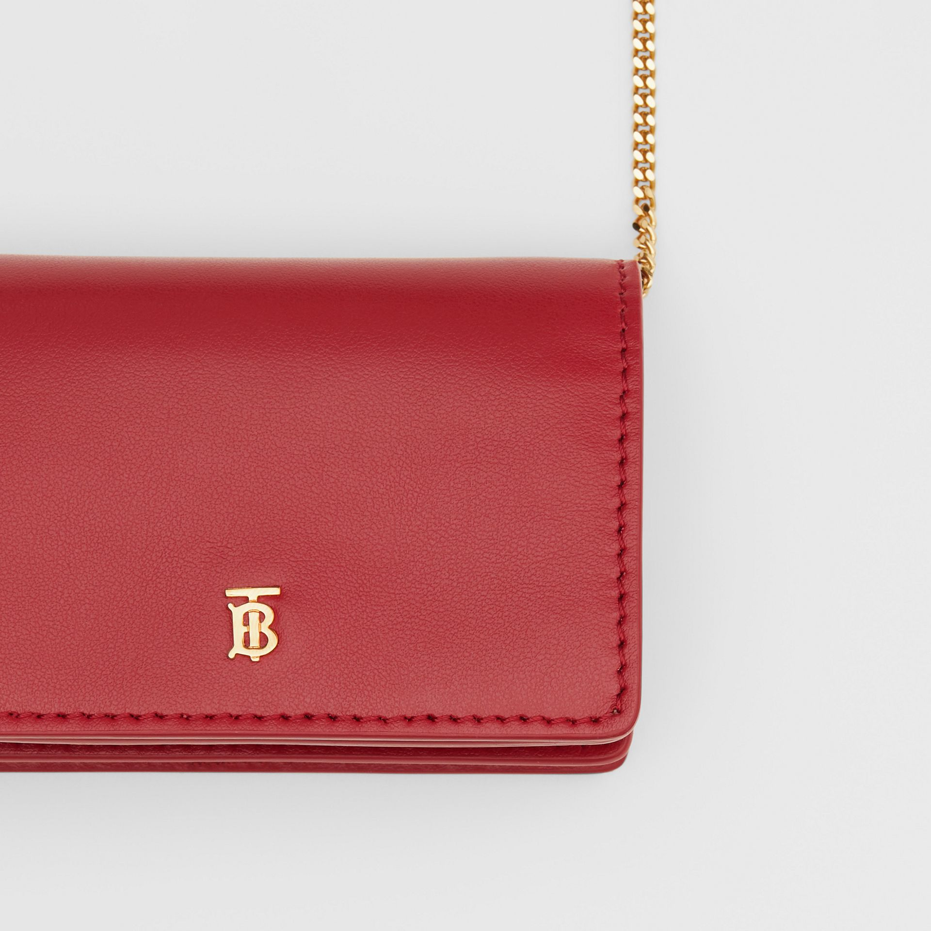 Leather Card Case with Detachable Strap in Crimson - Women | Burberry - gallery image 1