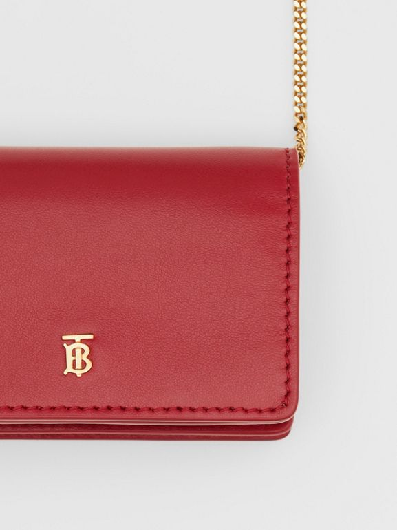 Leather Card Case with Detachable Strap in Crimson - Women | Burberry - cell image 1
