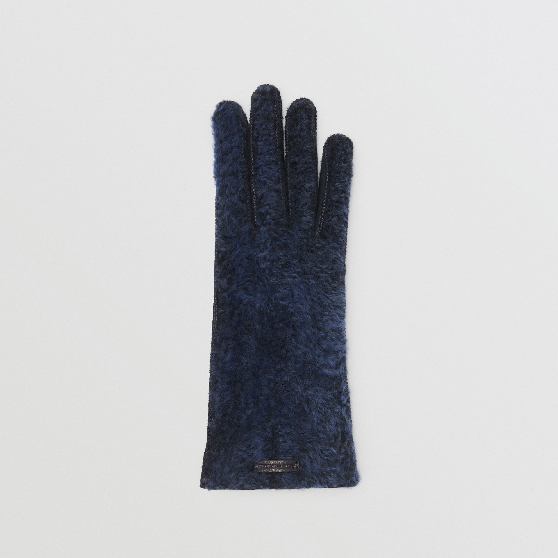 Shearling and Leather Gloves in Navy - Women | Burberry - gallery image 2