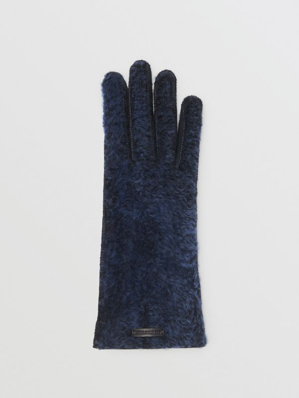 Shearling and Leather Gloves in Navy - Women | Burberry - cell image 2
