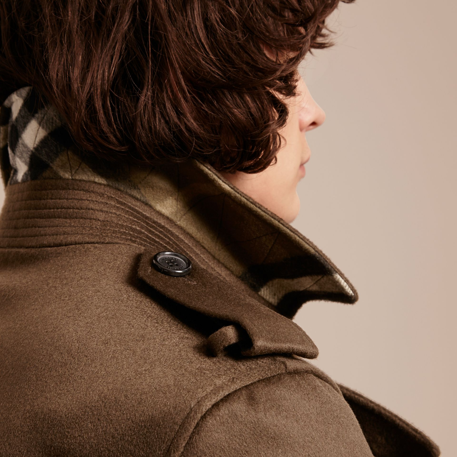 Cashmere Trench Coat in Dark Military Khaki - gallery image 5