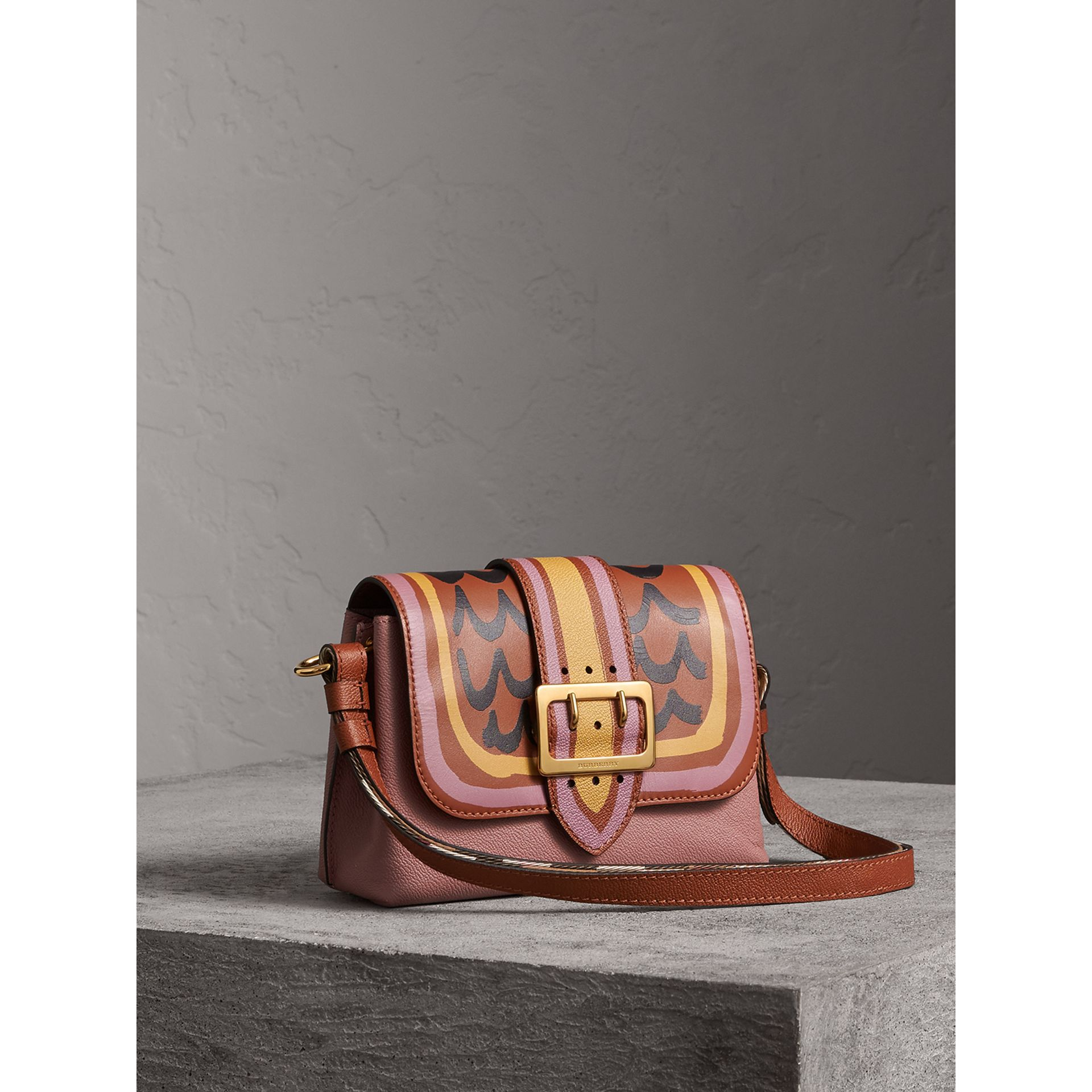 The Buckle Crossbody Bag in Trompe L'oeil Leather in Dusty Pink/bright Toffee - Women | Burberry - gallery image 6