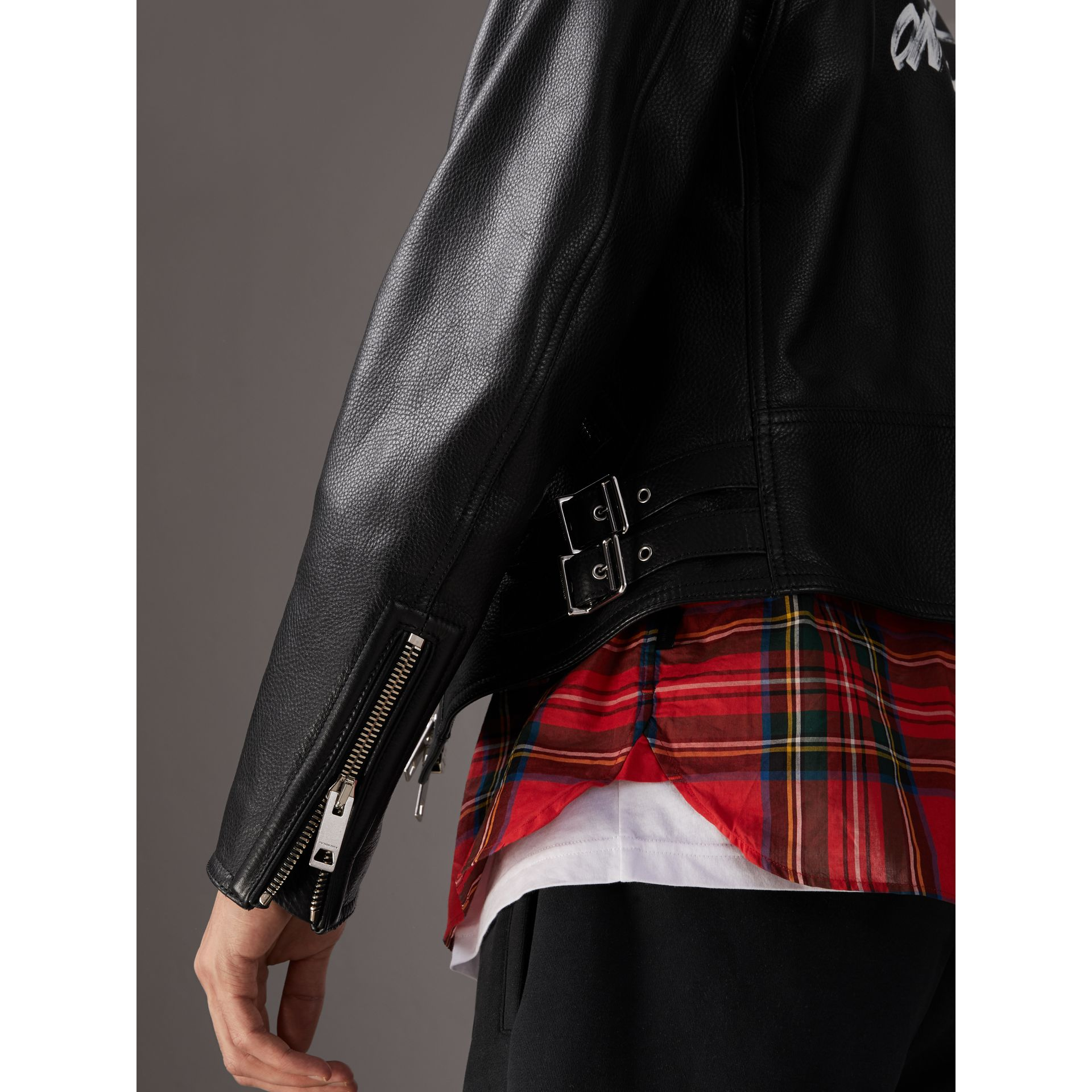 Burberry x Kris Wu Leather Biker Jacket in Black - Men | Burberry - gallery image 5