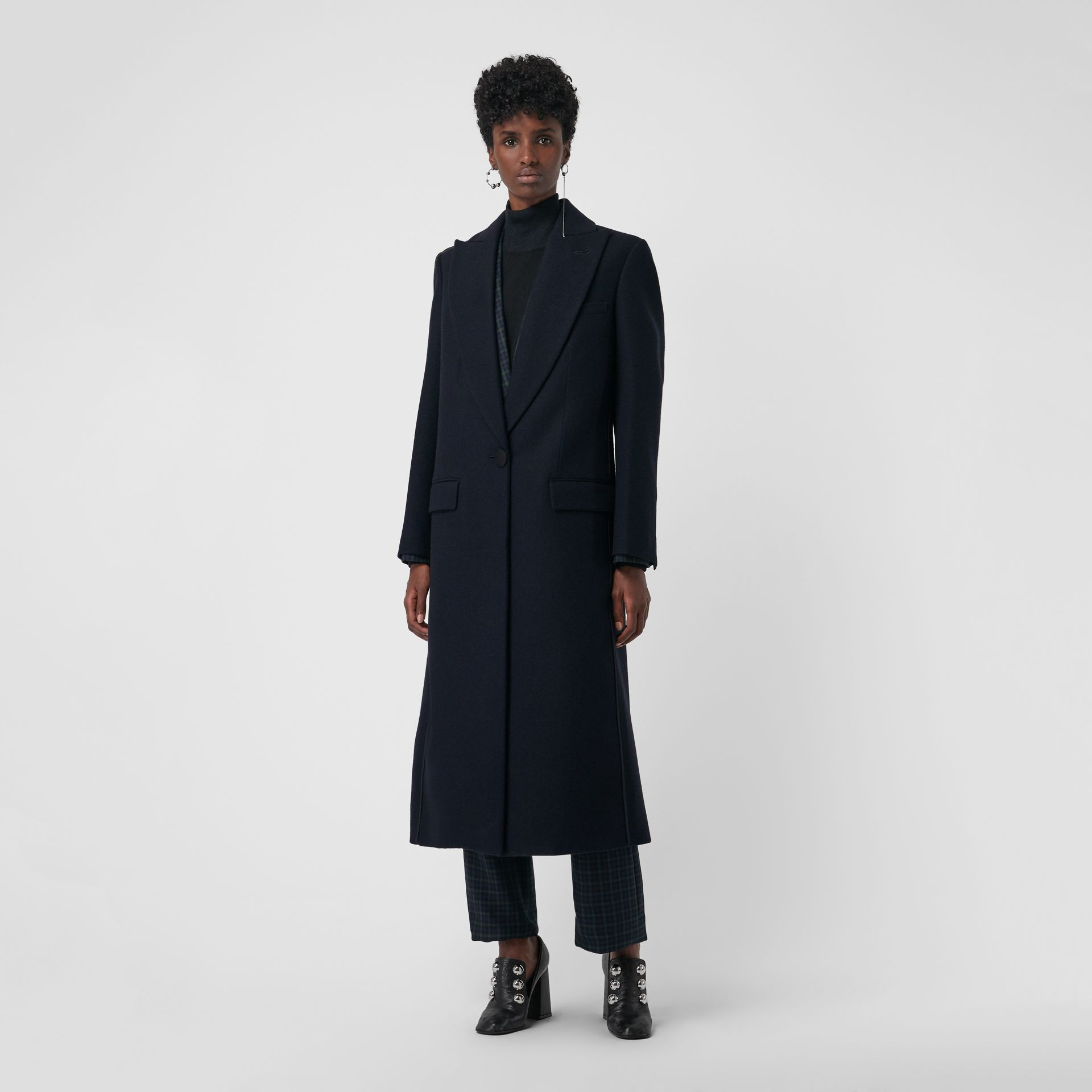 Cashmere Tailored Coat in Navy - Women | Burberry United States - gallery image 5