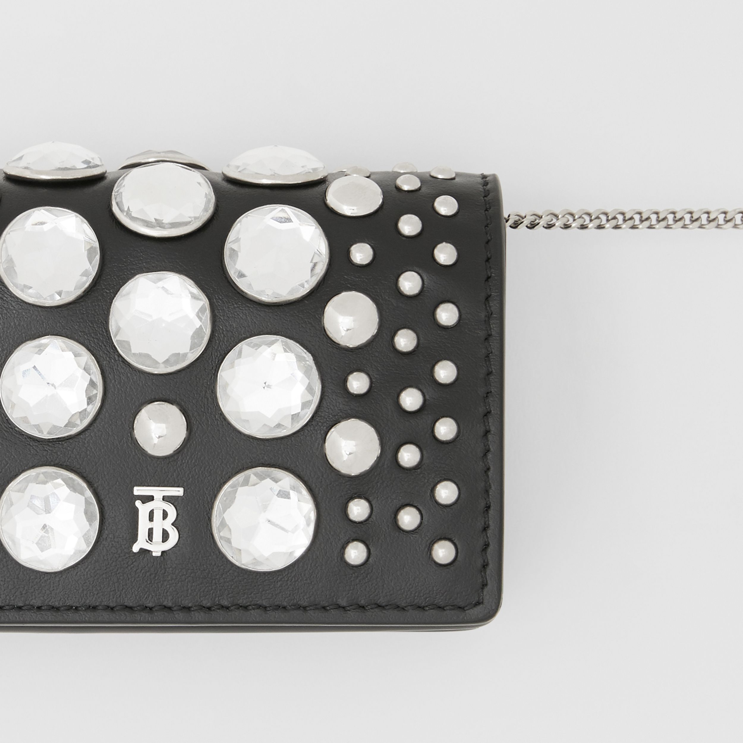 Embellished Card Case with Detachable Strap in Black | Burberry - 2