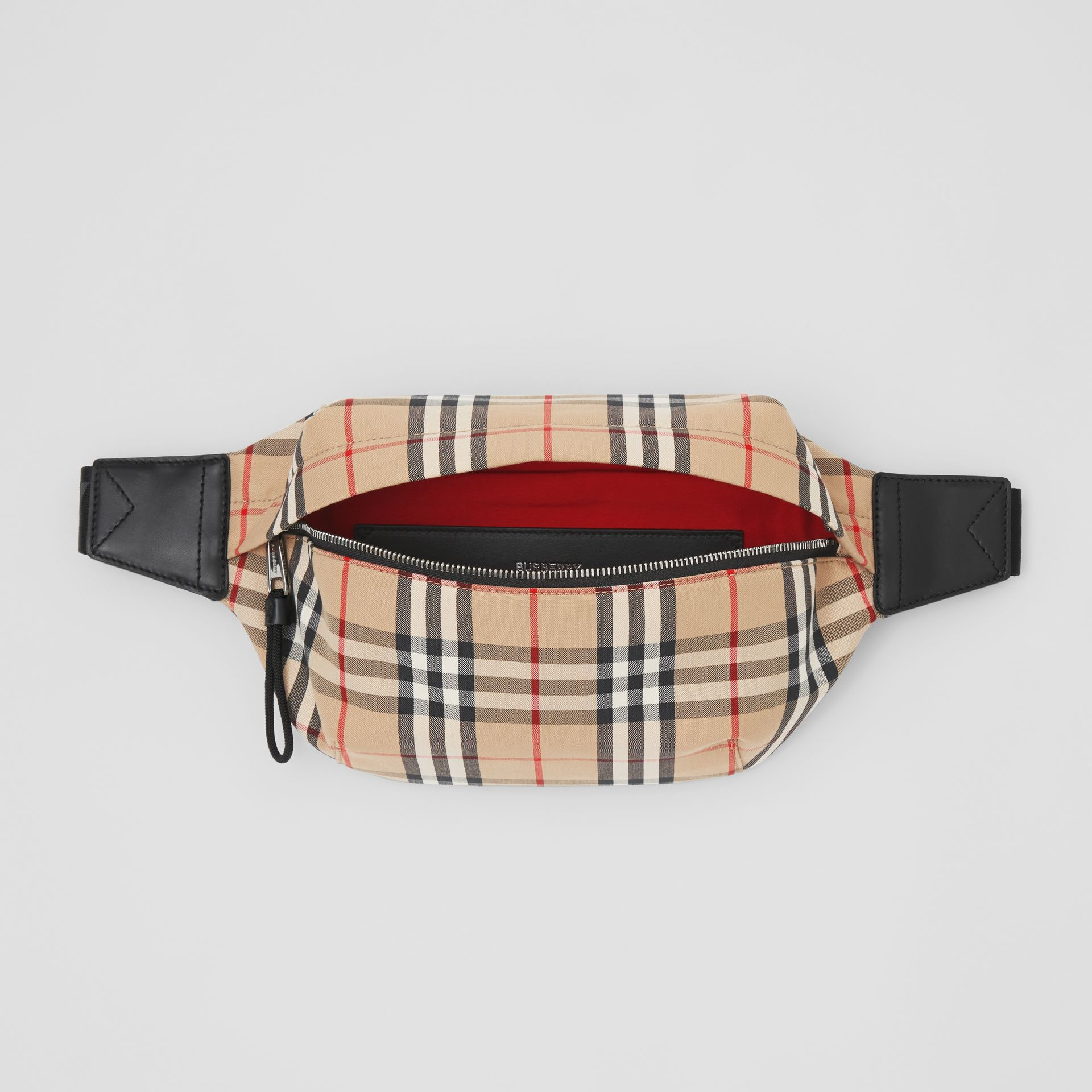 Medium Vintage Check Bonded Cotton Bum Bag in Archive Beige - Men | Burberry United Kingdom - gallery image 4