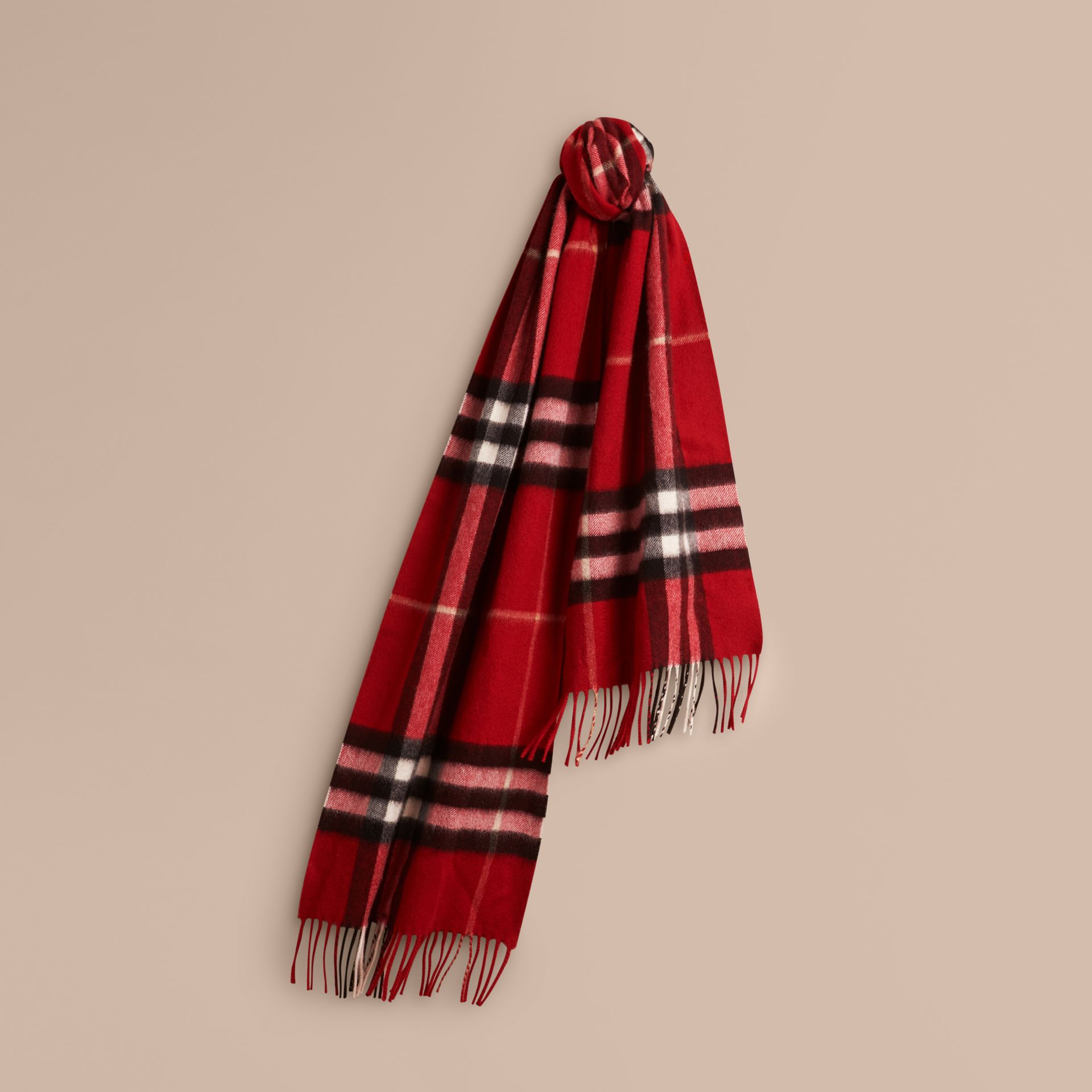 The Classic Check Cashmere Scarf in Parade Red | Burberry - gallery image 6