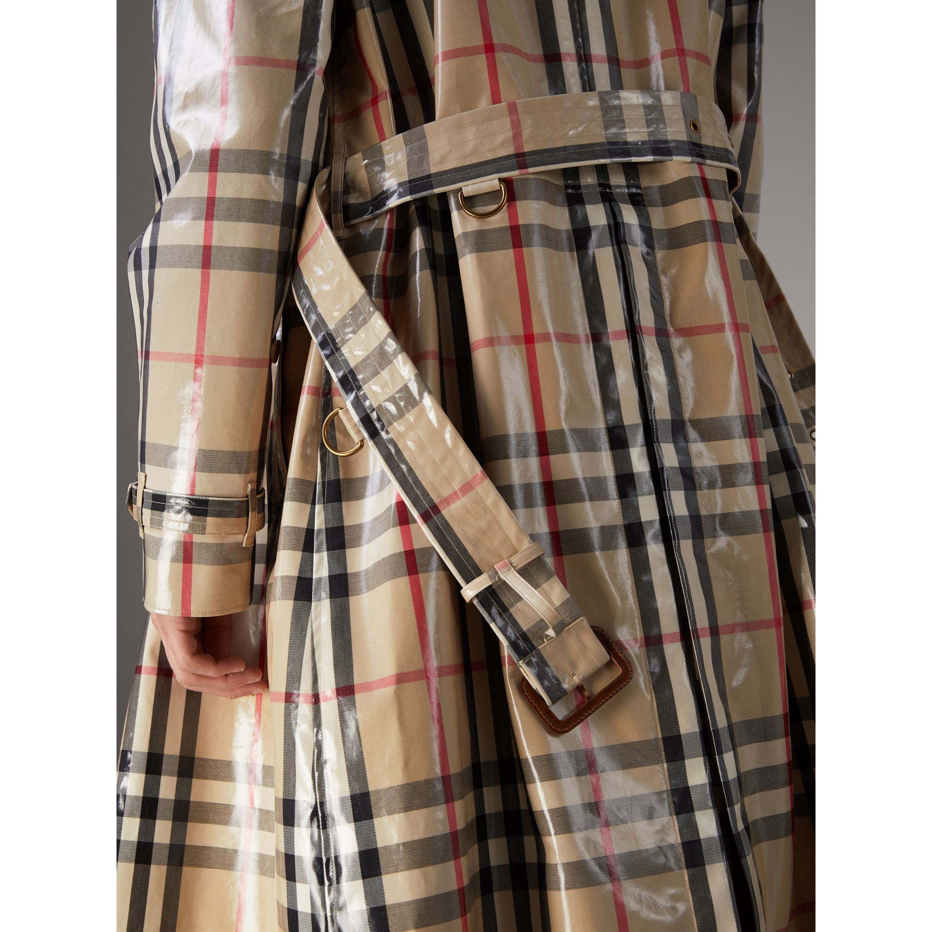 Laminated Check Cotton Trench Coat in New Classic - Men | Burberry - gallery image 4