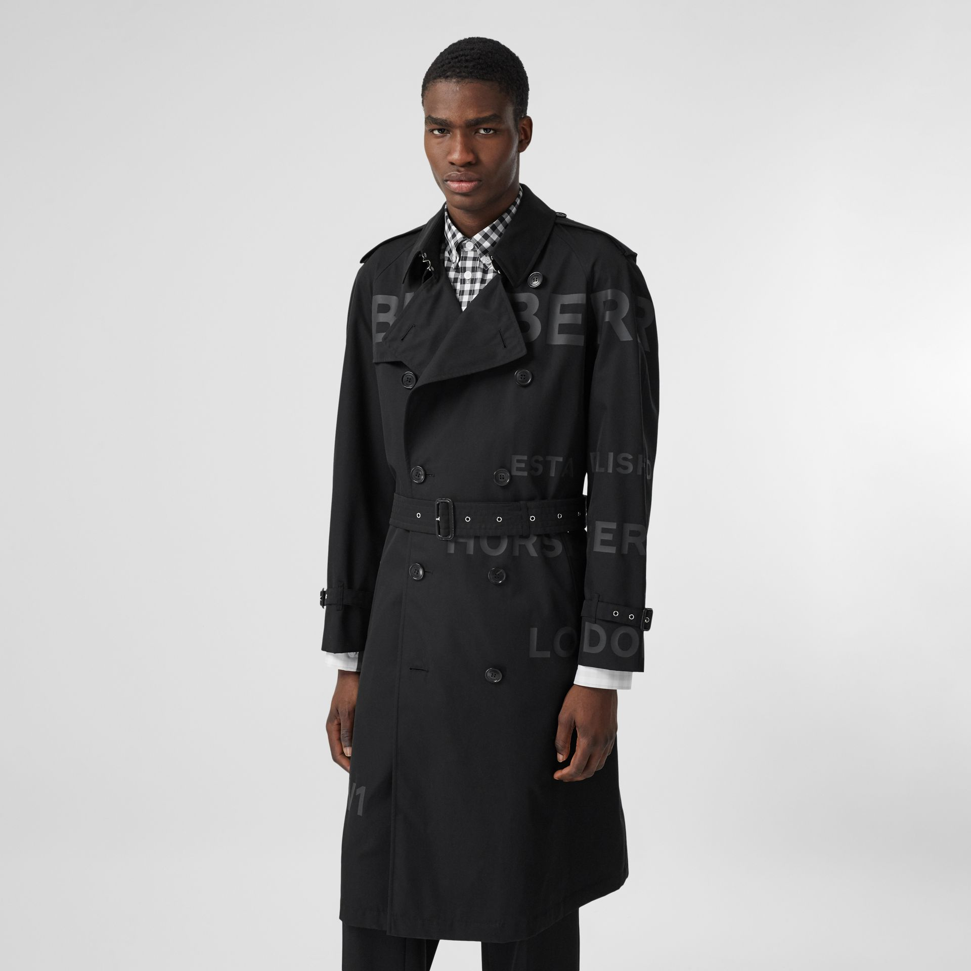 Horseferry Print Cotton Gabardine Trench Coat in Black - Men | Burberry Hong Kong S.A.R - gallery image 6