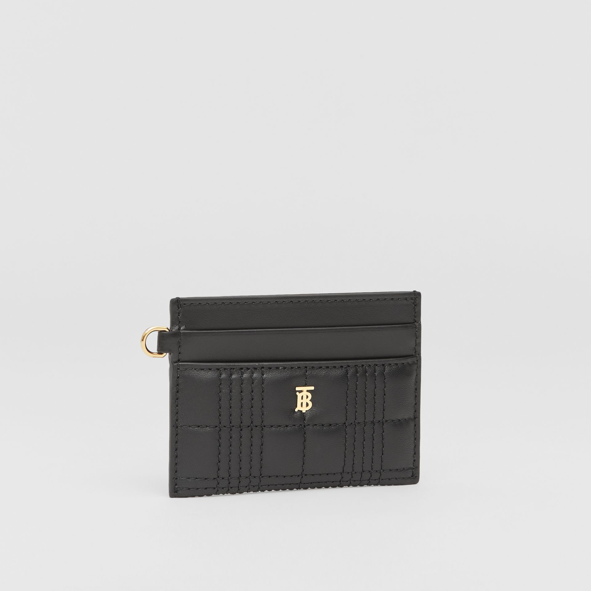 Monogram Motif Quilted Lambskin Card Case in Black - Women | Burberry - gallery image 3