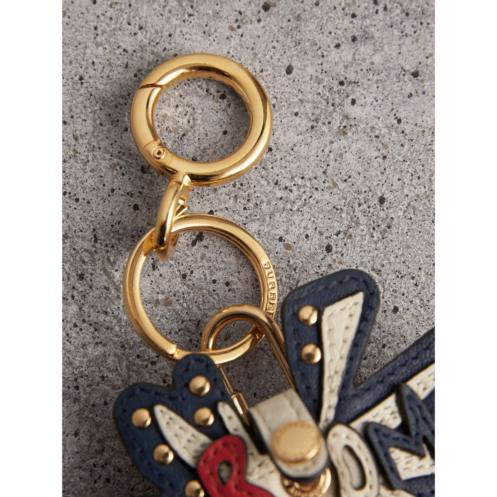 Doodle Motif Leather Key Charm and Padlock in Natural | Burberry - gallery image 1