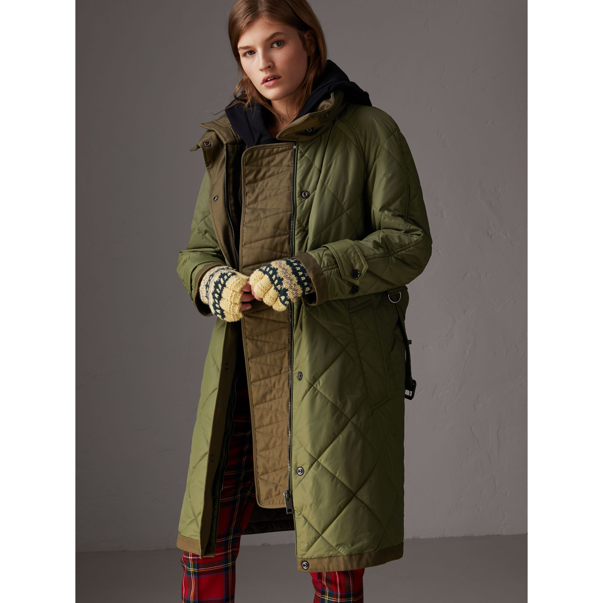 Packaway Hood Diamond Quilted Coat in Olive Green - Women | Burberry Singapore - gallery image 6