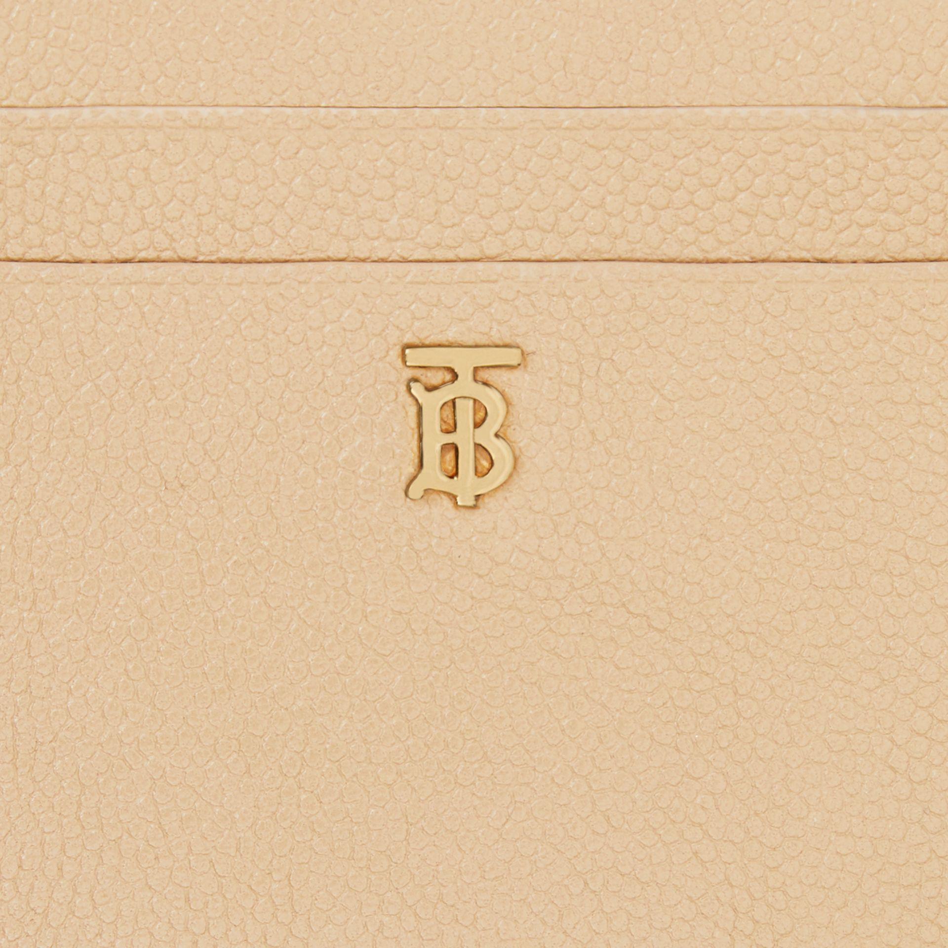 Monogram Motif Grainy Leather Zip Card Case in Archive Beige - Women | Burberry - gallery image 1
