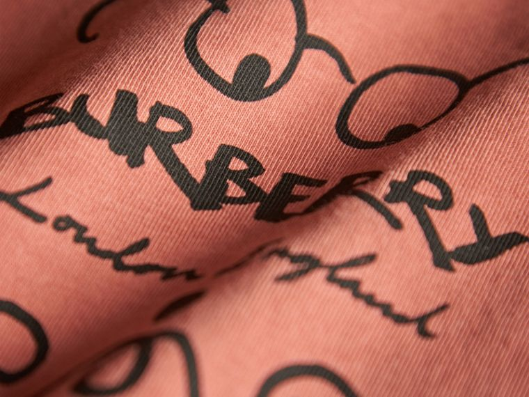 Bearded Gent Print Cotton T-shirt in Pale Cinnamon | Burberry - cell image 1