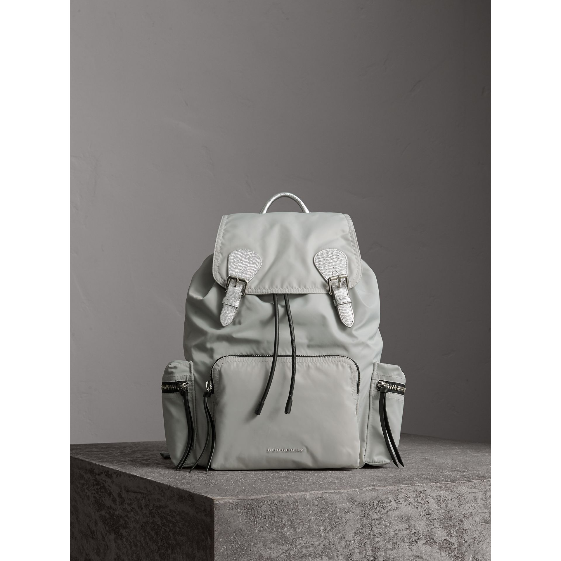 The Large Rucksack in Technical Nylon and Leather in Pale Stone/silver - Women | Burberry - gallery image 1