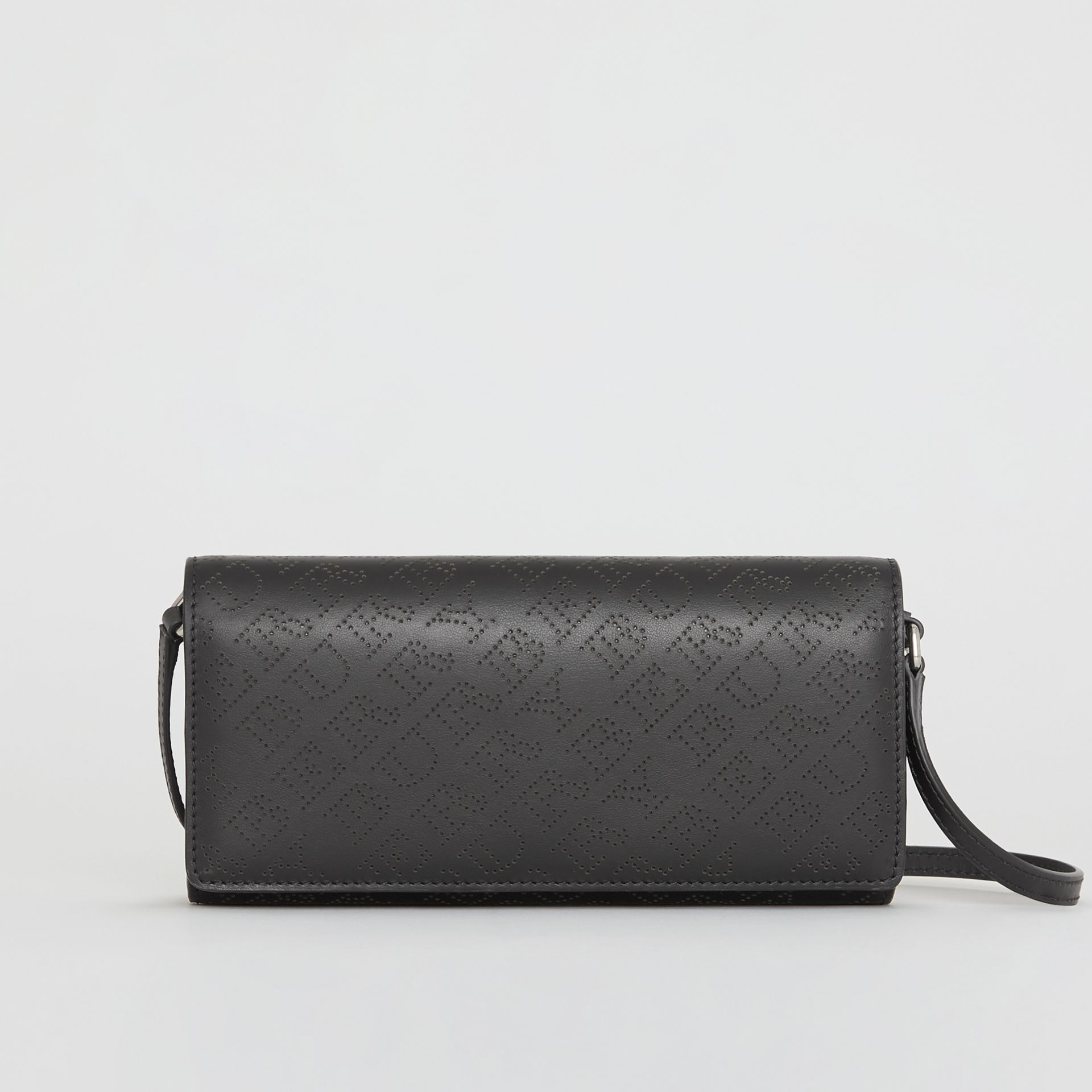 Perforated Logo Leather Wallet with Detachable Strap in Black - Women | Burberry Singapore - gallery image 0