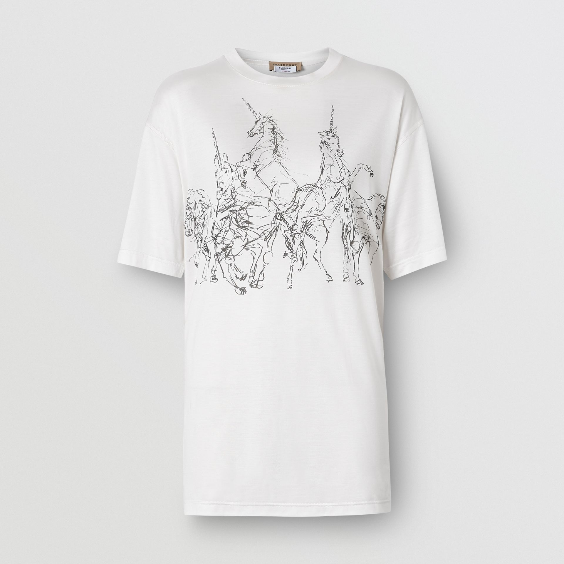Unicorn Sketch Print Jersey Oversized T-shirt in White - Women | Burberry - gallery image 3