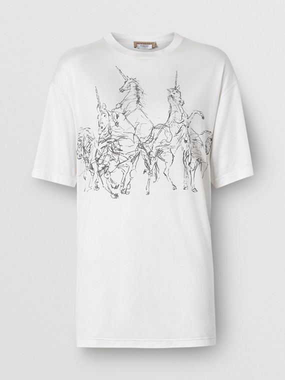 Unicorn Sketch Print Jersey Oversized T-shirt in White