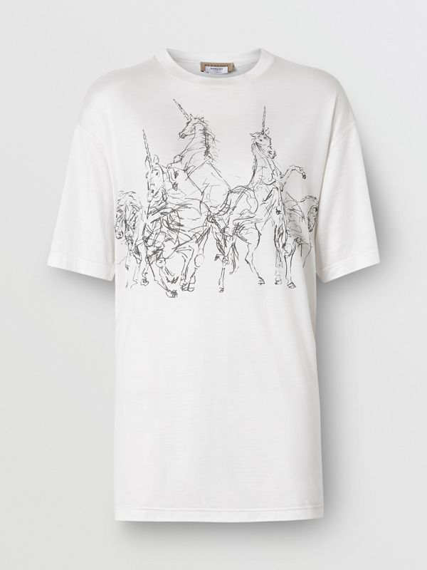 Unicorn Sketch Print Jersey Oversized T-shirt in White - Women | Burberry - cell image 3