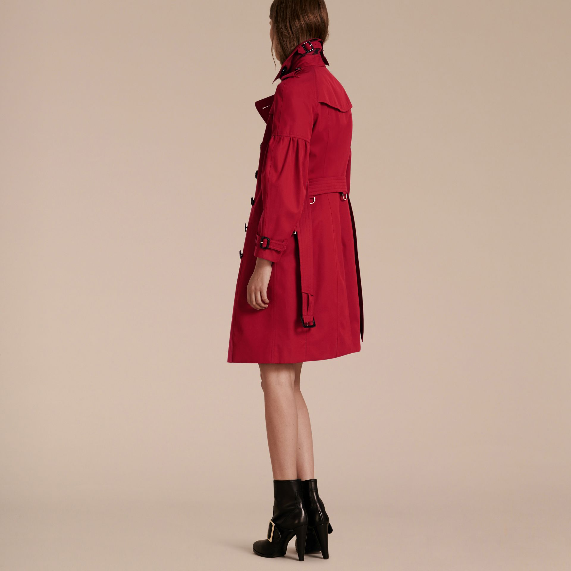 Parade red Cotton Gabardine Trench Coat with Puff Sleeves Parade Red - gallery image 3