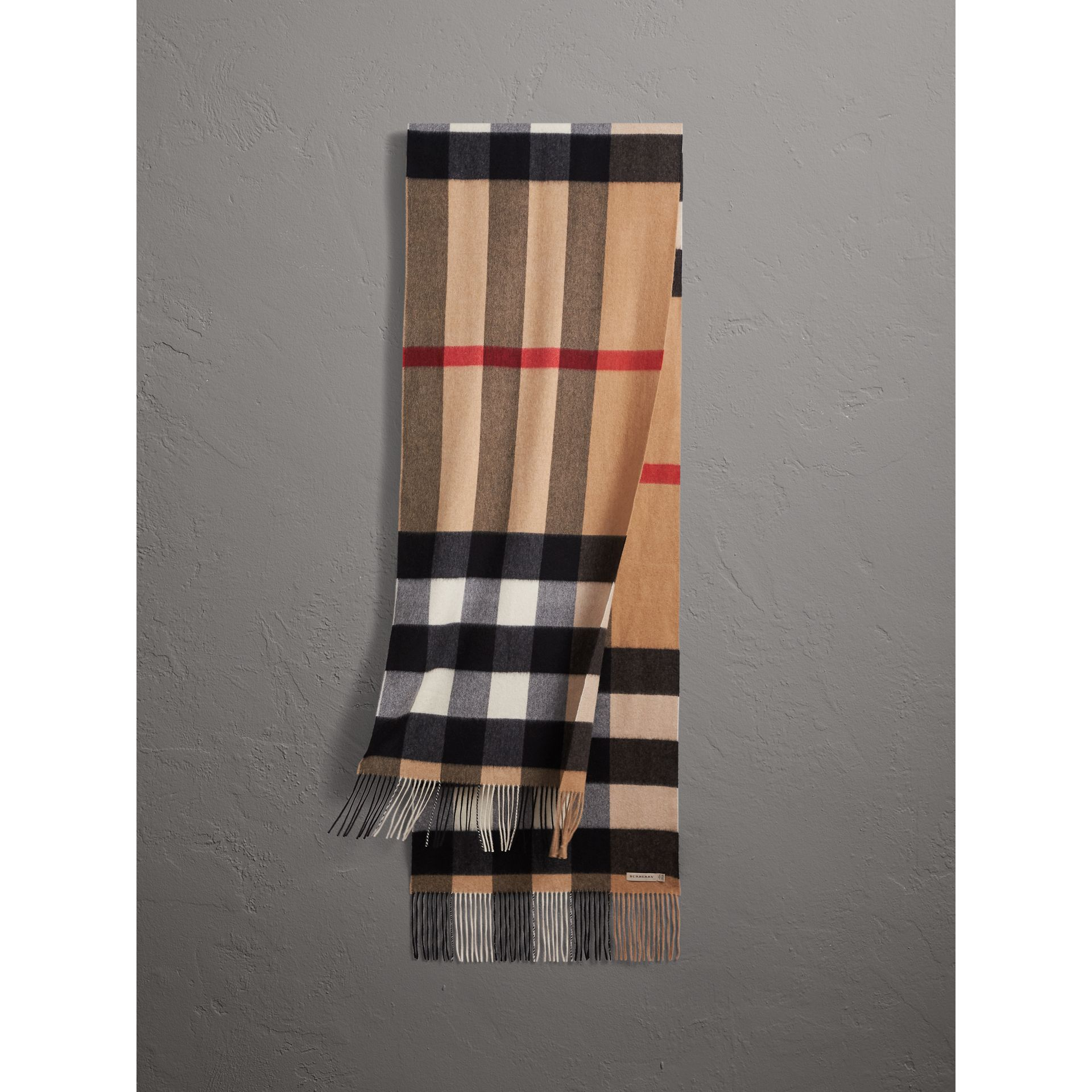 Oversize Check Cashmere Scarf in Camel | Burberry - gallery image 0