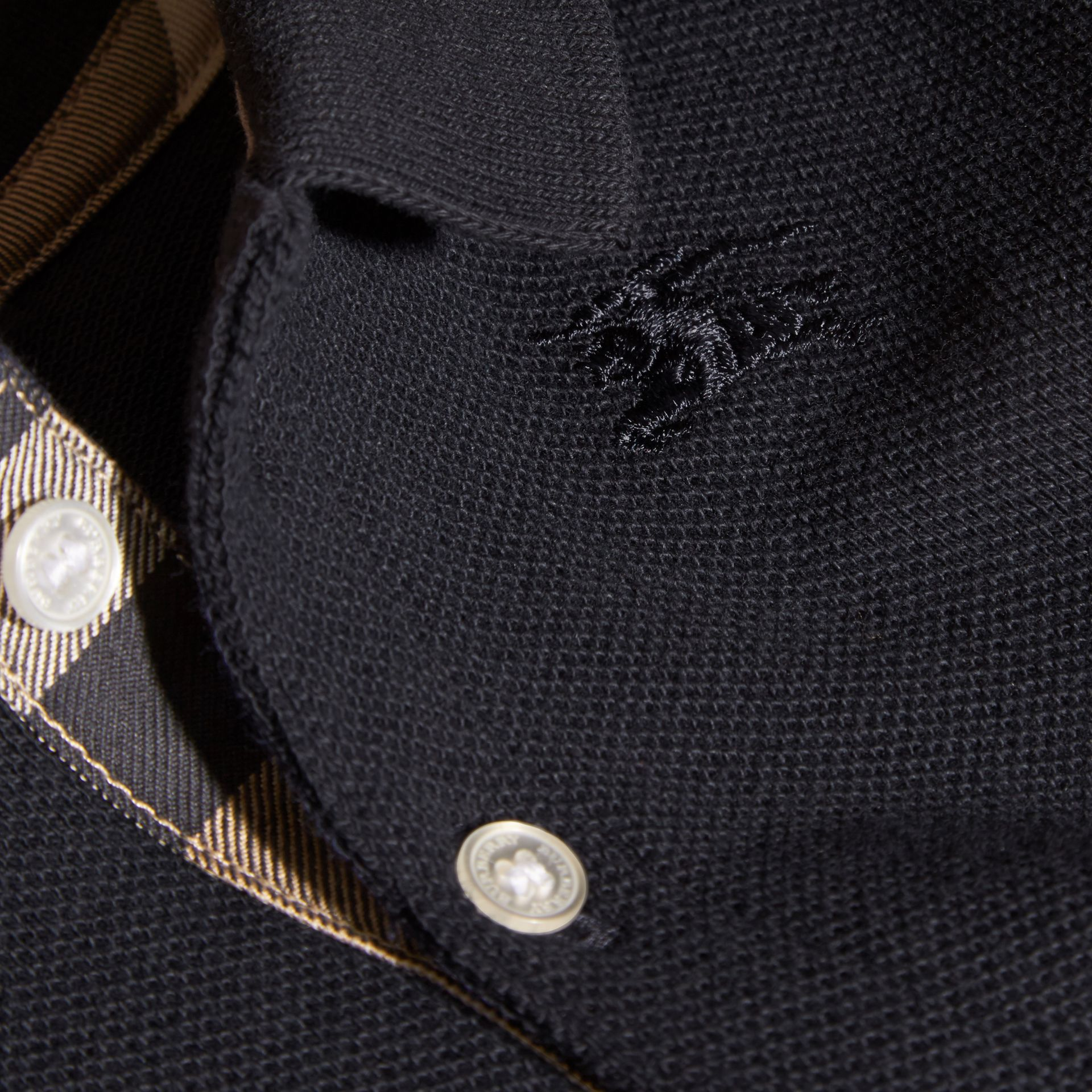 Cotton Piqué Polo Shirt in True Navy | Burberry - gallery image 2